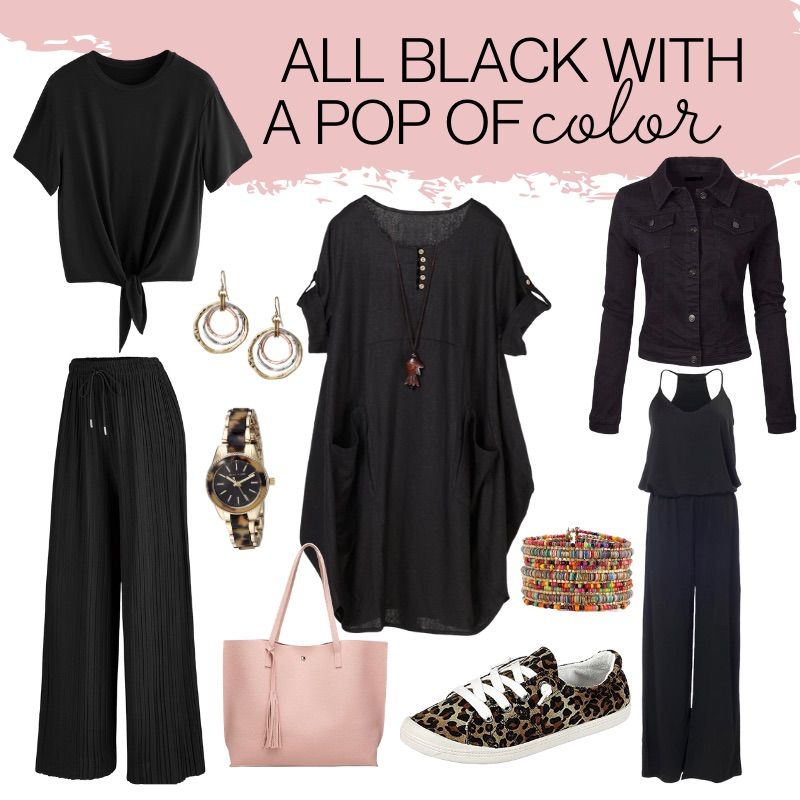 All Black With A Pop of Color, Affordable Black Outfits, Amazon Outfits